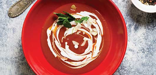 Roasted Tomato Soup with Basil Oil