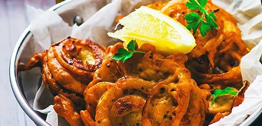 Onion Bhaji with Mango Chutney