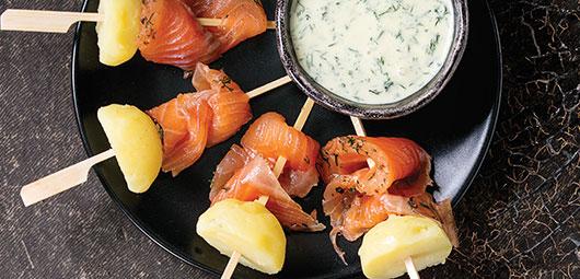 Smoked Salmon & Potato Skewers